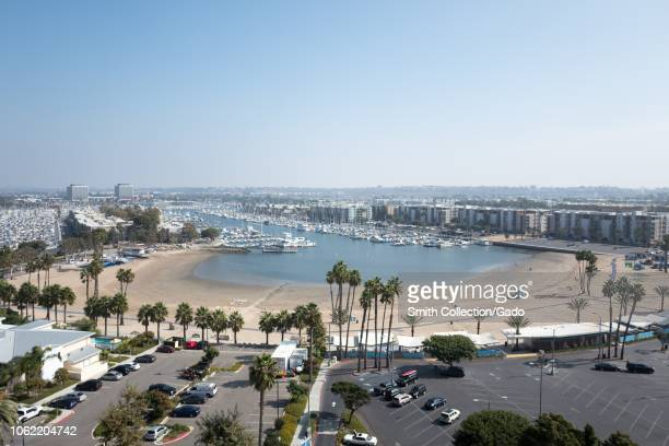 Aerial view in the Marina Del Rey neighborhood of Los Angeles, California, including Marina Beach , October 22, 2018.
