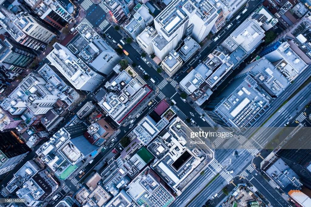 Aerial view in urban areas. : Stock Photo