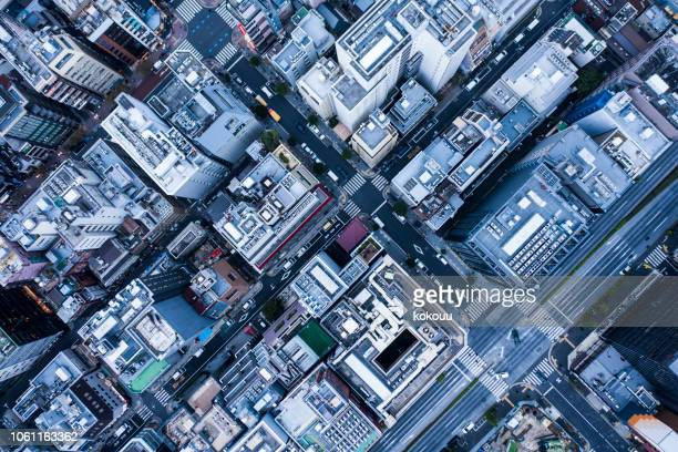 aerial view in urban areas. - overhead view stock pictures, royalty-free photos & images