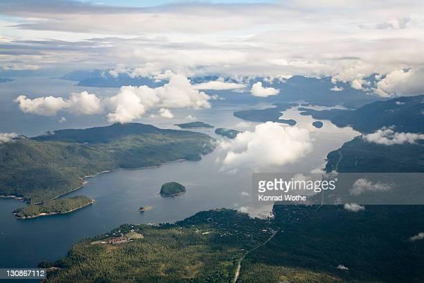 Aerial view, islands of the Inside Passage south of Wrangell, Southeast Alaska, Alaska, USA, North America