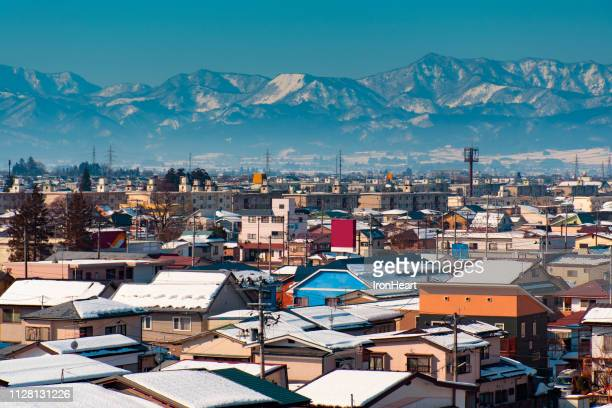 aerial view landscape of fukushima city during winter time in japan. - 東北地方 ストックフォトと画像