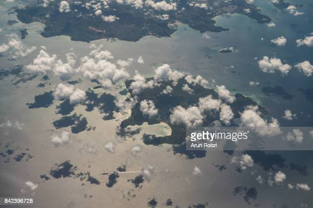 Aerial view landscape of Pattaya city and islands in Thailand