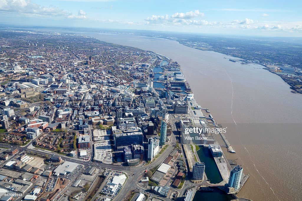 Aerial View Liverpool City Centre And River Mersey Stock Photo