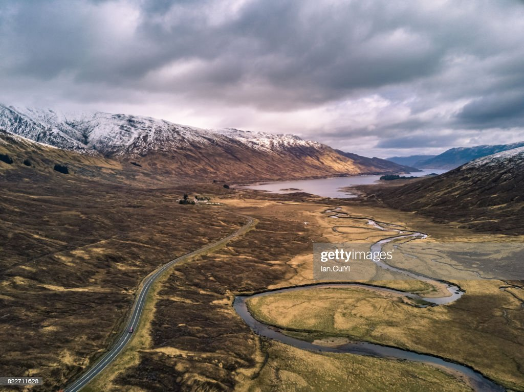 Aerial View: Loch Cluanie, A87, Road to Isles, near Invergarry, Highland, Scotland, UK : Stock Photo