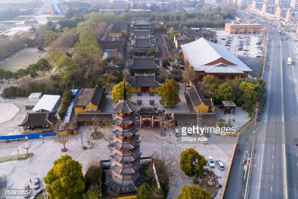 """""""aerial view longhua temple, shanghai, china"""" - longhua temple stock photos and pictures"""