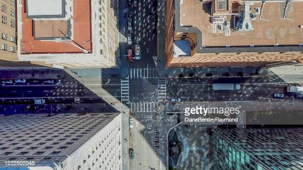 aerial view looking down at intersection - san francisco california stock pictures, royalty-free photos & images