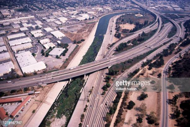 Aerial view looking east over Glendale toward Los Angeles and Burbank with the intersection of California 134 freeway and Interstate 5 and the Los...