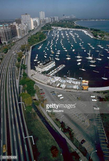 Aerial view looking north at Lakeshore Drive and Belmont Harbor Chicago Illinois 1980s