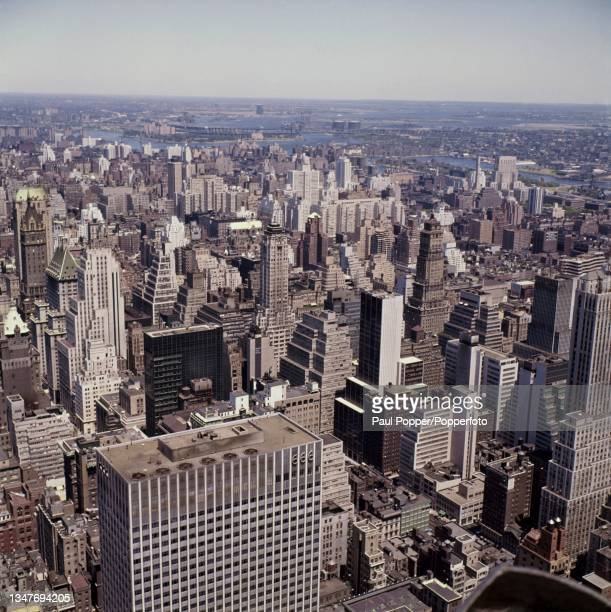 Aerial view looking north east from the top of the RCA Building at the Rockefeller Center of office buildings and apartment buidings in Midtown...