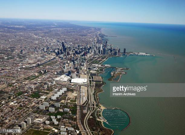 Aerial view, looking north, of Chicago, Illinois, April 2019. Visible in the foreground are the neighborhoods the Prairie Shores, the Near South...