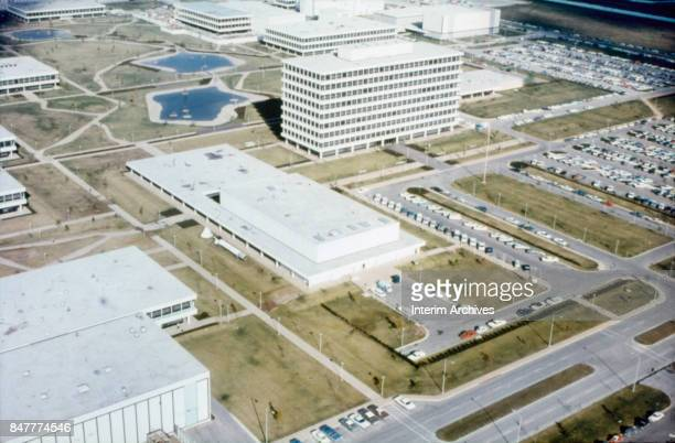 Aerial view looking northeast across part of NASA's Manned Space Center campus Houston Texas 1960s