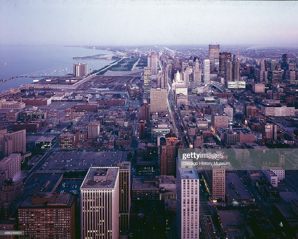 Aerial view, looking south, of downtown Chicago, Illinois, mid to late 20th century.