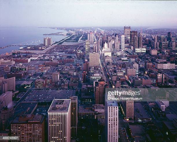 Aerial view looking south of downtown Chicago Illinois mid to late 20th century