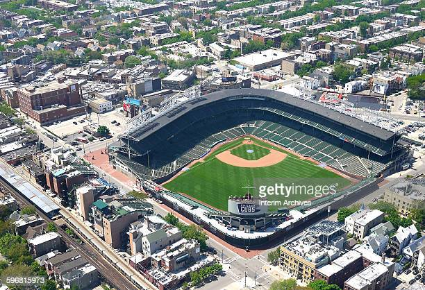 Aerial view looking southwest upon Wrigley Field, home field of the Chicago Cubs, and the surrounding North Side neighborhoods, Chicago, Illinois,...
