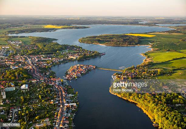 Aerial view, Malchow with Malchower See lake and the island with the historic centre and its old market square, Malchow, Mecklenburg Lake District, Mecklenburg-Western Pomerania, Germany