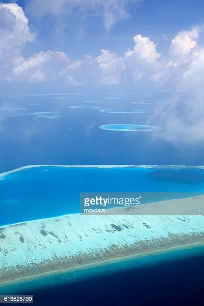 Aerial view Maldives Atoll