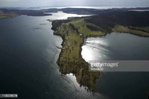 Aerial view Marieville Esplanade Sandy Bay Tasmania Australia