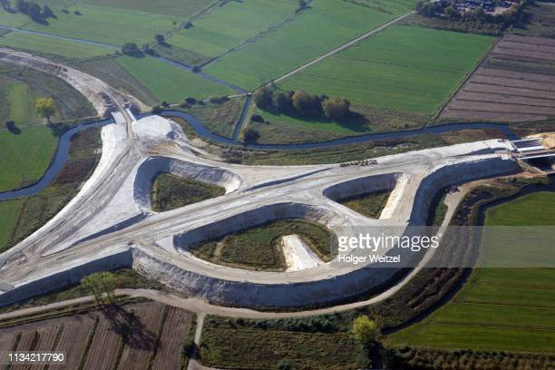 aerial view, motorway construction site a26, conversion to motorway junction, neu wulmstorf, lower saxony, germany - neu stock pictures, royalty-free photos & images