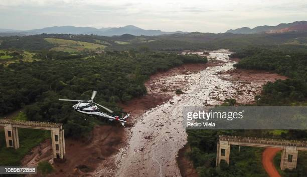 Aerial view mudhit area in Corrego do Feijao near the town of Brumadinho in the state of Minas Gerias in southeastern Brazil on January 26 2019 a day...