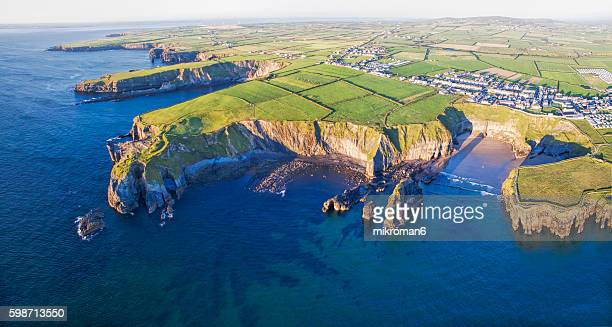 Aerial view mysterious places in Ireland, Ballybunion Co. Kerry, Ireland