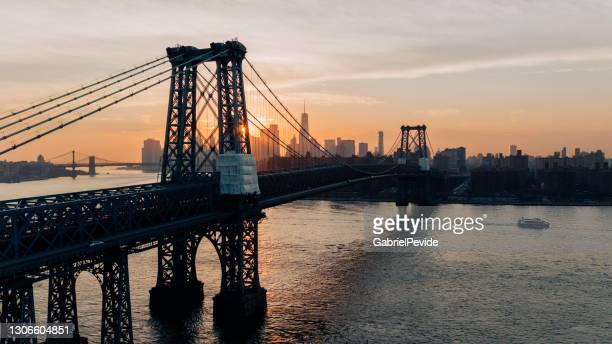aerial view new york sunset in brooklyn - brooklyn new york stock pictures, royalty-free photos & images