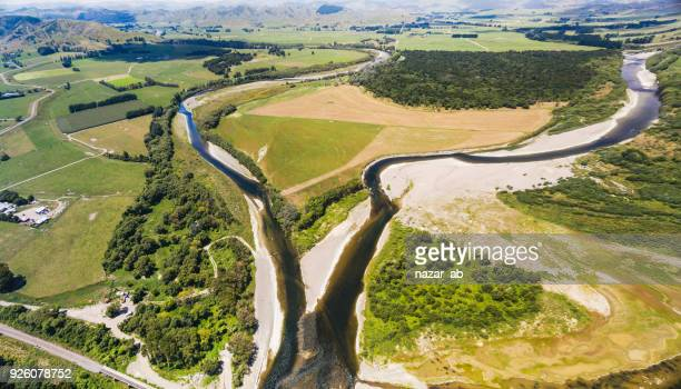 Aerial view New Zealand irrigation canal.