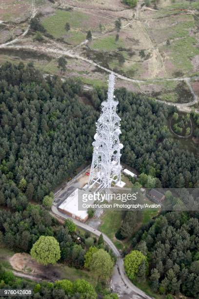 Aerial view north east of microwave tower in Olddean Common north of Camberley Surrey UK