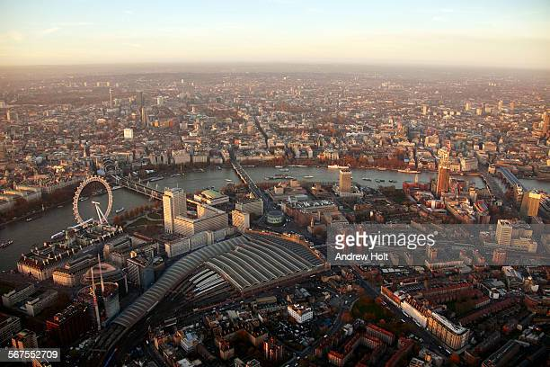 aerial view north of waterloo station at sunset - waterloo railway station london stock pictures, royalty-free photos & images