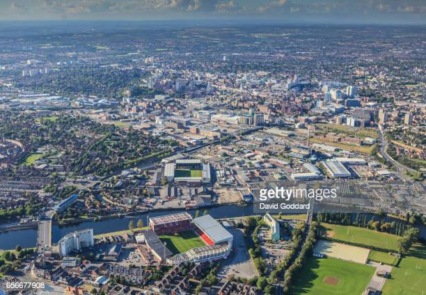 Aerial view Nottingham Forest's City Ground, Notts County's Meadow Lane Ground and the City of Nottingham in the background on September 19: 2012.