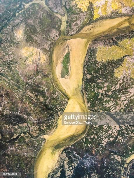 Aerial view O Grove Wetlands, Galicia, Portrait