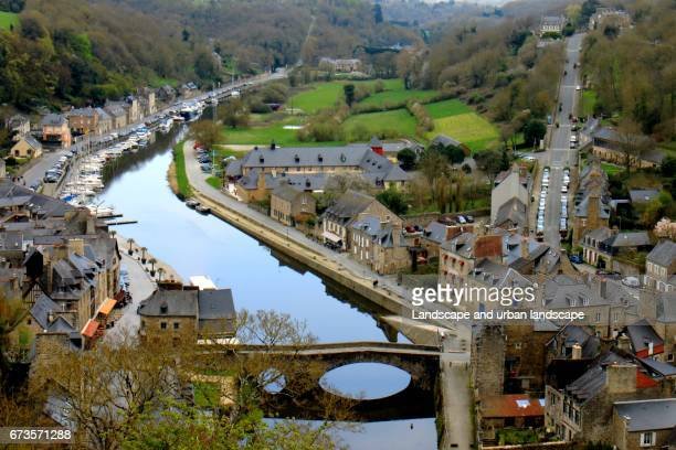 aerial view od dinan, a medieval town in brittany - cotes d'armor stock photos and pictures