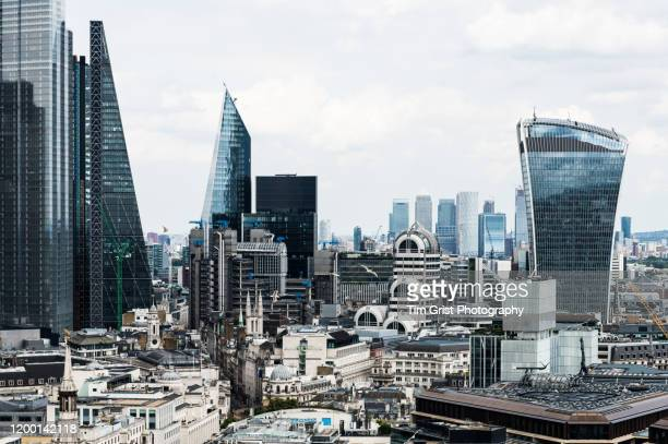 aerial view of 20 fenchurch street and the london skyline. london, uk. - tim grist stock pictures, royalty-free photos & images