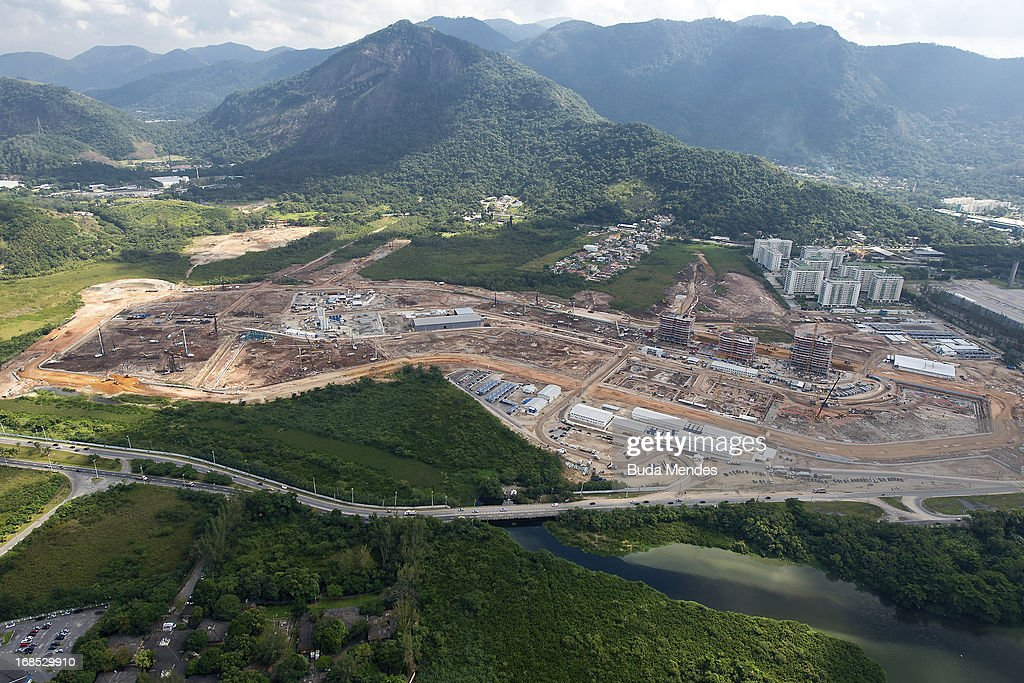 Aerial view of 2016 Olympic Village under construction on May 10, 2013 in Rio de Janeiro, Brazil.