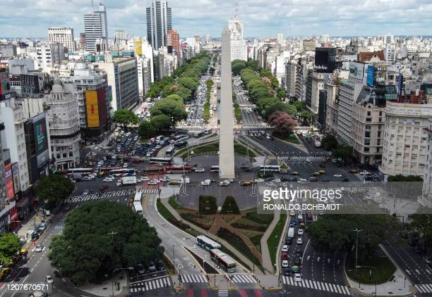 Aerial view of 9 de Julio avenue in Buenos Aires, on March 19, 2020. - In Argentina, which has registered three COVID-19 deaths, the government has...