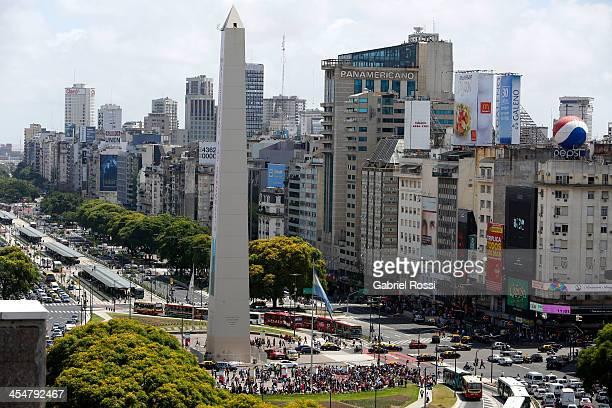 Aerial view of 9 de Julio avenue on December 10 2013 in Buenos Aires Argentina