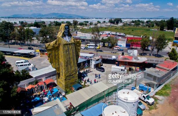 Aerial view of a 22-meter-high figure of Saint Death during a ceremony at the International Sanctuary of Saint Death in the municipality of...