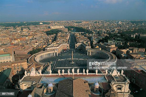 Aerial view of a basilica in a city, St. Peter's Basilica, St. Peter's Square, Vatican City, Rome, Lazio, Italy