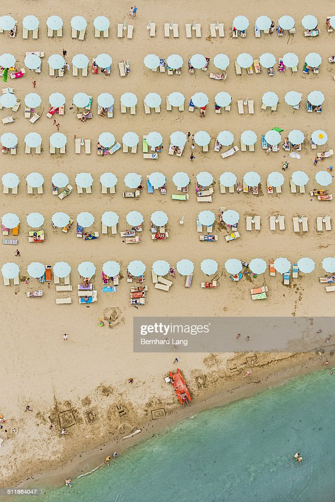 Aerial View of a beach at the adriatic coastline : Stock Photo