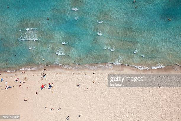 aerial view of a beach from high above