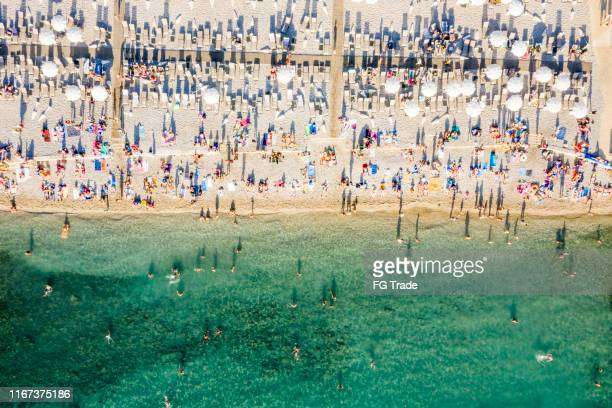 aerial view of a beach in dubrovnik, croatia - crowded beach stock pictures, royalty-free photos & images