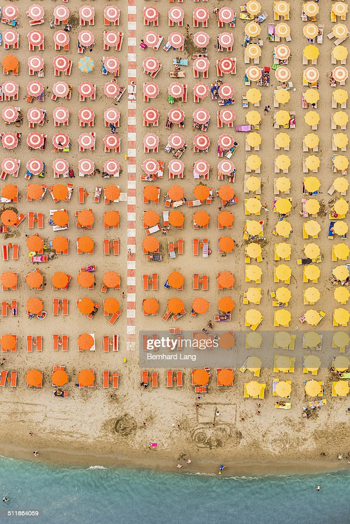 Aerial View of a beach resort with sunshades : Stock Photo