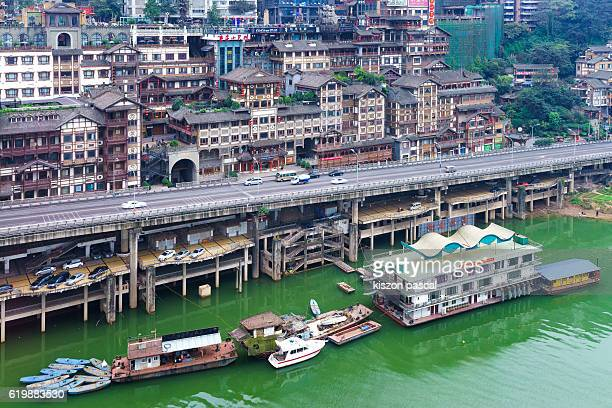 Aerial view of a big city in China in day