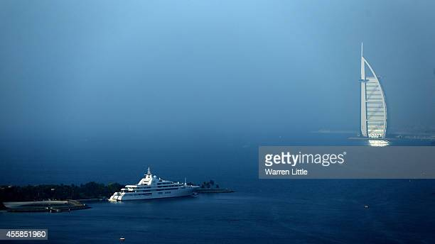 A aerial view of a boat at the Burj Al Arab Hotel on September 17 2014 in Dubai United Arab Emirates