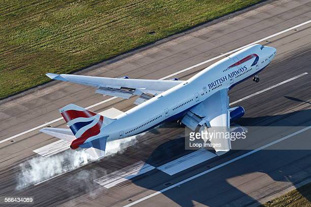 Aerial view of a British Airways Boeing 747 landing on Runway 27R at London Heathrow Airport