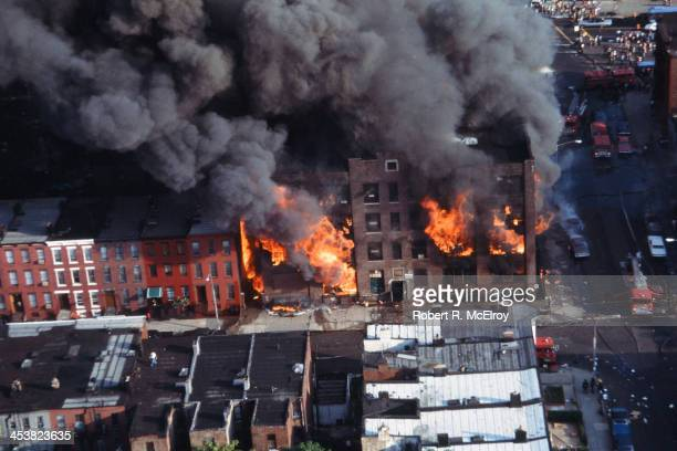 Aerial view of a building burning in the wake of the New York City blackout Brooklyn New York New York July 14 1977