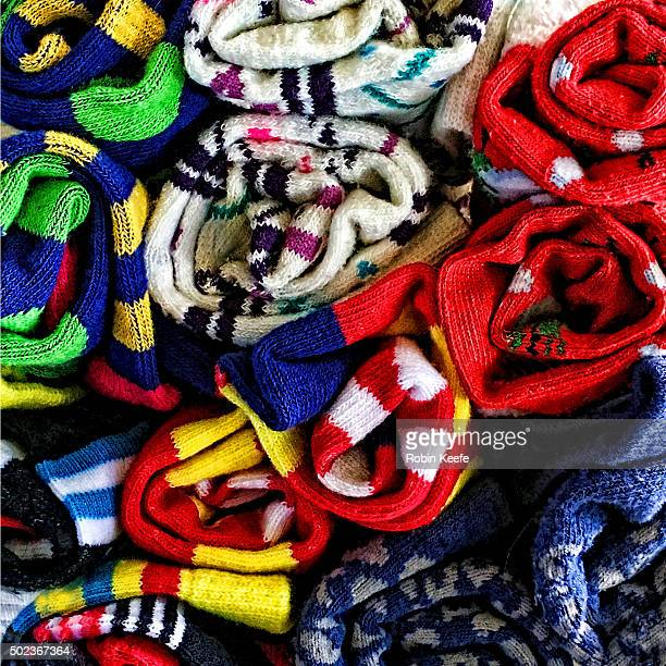 Aerial View of a Bunchof Colorful Socks
