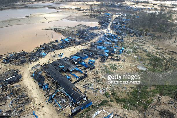 Aerial view of a burnt down illegal gold mining camp in the area of La Pampa in Madre de Dios southern Peruvian jungle on July 14 2015 In an...