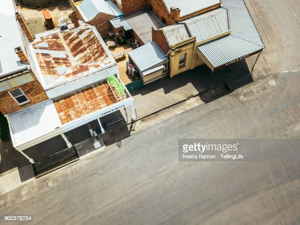 Aerial view of a butcher shop in a small rural town