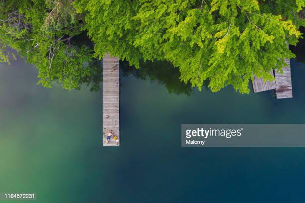 aerial view of a calm and beautiful lake, forest, jetty and boat house. - jetty stock pictures, royalty-free photos & images