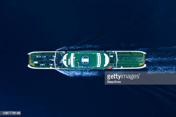 aerial view of a car ferry in stavanger, norway - fähre stock-fotos und bilder